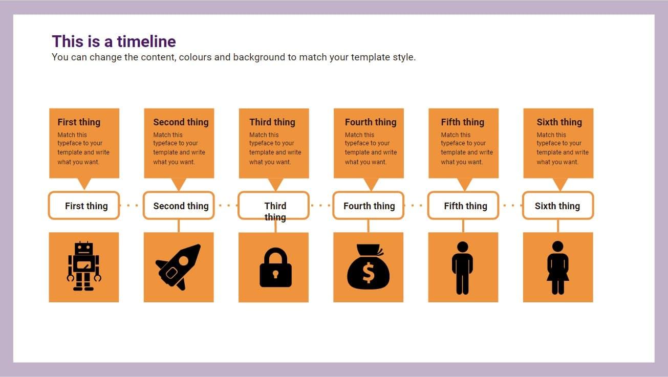 Squares timeline Infographic slidesforeducation